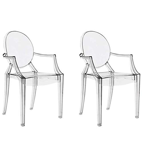 chairs4you Lot de 2 chaises Transparentes inspirees Louis Ghost Salle a Manger Cuisine Dressing Salon Bureau Transparente Fauteuil Cristal