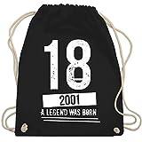 Shirtracer Geburtstag - 18 Geburtstag Jungs 2001 - Vintage Motiv - Unisize - Schwarz - WM110 - Turnbeutel und Stoffbeutel aus Bio-Baumwolle