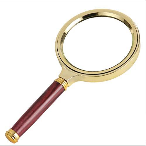 Vergrößerungsglas Handlupe, drehbarer großer Spiegel, faltende Lupe, nachahmter Mahagoni-Griff + Glas + vergoldeter Rahmen, zum Lesen geeignet, Edelsteine, Inspektion, 10x beleuchtete Lupe