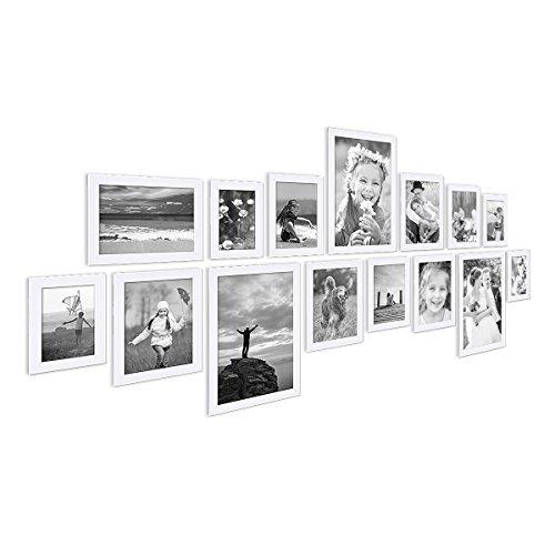 Photolini Juego de 15 Marcos Basic Collection Modernos, Blancos de MDF, Incluyendo Accesorios/Collage de Fotos/galería de imágenes