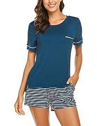 Unibelle Damen Pyjama Schlafanzug Baumwolle Kurz Nachtwäsche Nachthemd Hausanzug Kurzarm V Ausschnitt für Sommer