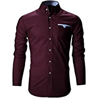 FINIVO FASHION Men's Cotton Casual Shirt (Wine, 38)
