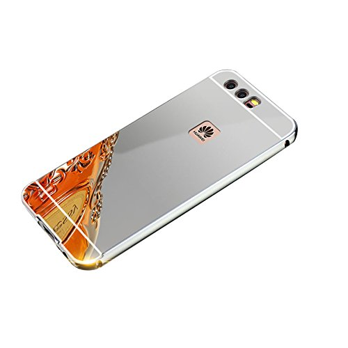Minto Luxus Aluminium Metall Spiegelhülle Schutzhülle iPhone 8 Plus / iPhone 7 Plus Spiegel PC Rückseite Case Cover Hülle + Metall Bumper Rahmen Silber Silber -p10 plus