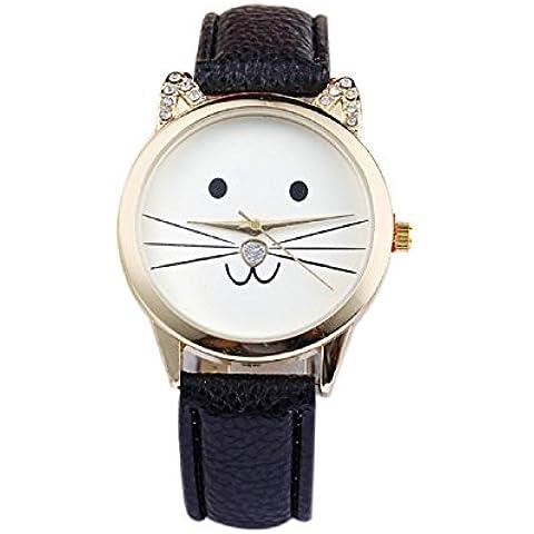 Malloom® 2015 moda damas diamante precioso gatos cara cuero de imitación reloj de cuarzo Negro