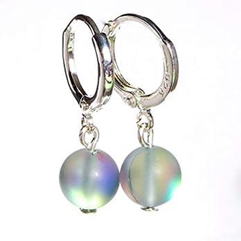 Aurora Flash Gray Mondstein Sterling Silber 925 vergoldet Ohrringe Geschenk für sie