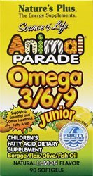 Nature's Plus, Source of Life, Animal Parade, Omega 3/6/9 Junior, Natural Lemon Flavour, 90 Softgels (Packaging May Vary)