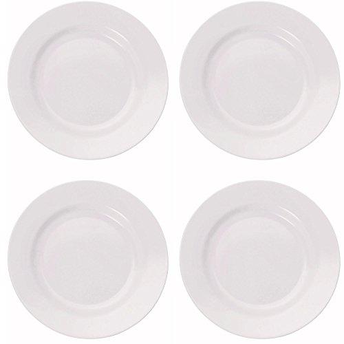 4 x bruchfester weißer Camping-Teller Ø 20 cm, Frühstücksteller flach, Camping-Geschirr aus hochwertigem Melamin Kunststoff