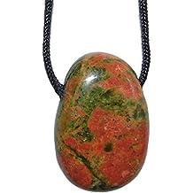Unakit/Epidot und viele andere Steinsorten flache Edelsteine/Trommelsteine Anhänger gebohrt
