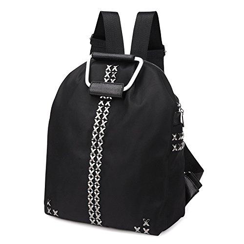LINGE-Freizeit Reisen Rucksack Rucksack Nylon Oxford Leinwand Nieten Handtasche (Behandeln Leinwand)