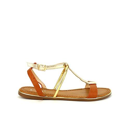 Cendriyon, Sandale simili peau C'M MODA Camel Chaussures Femme Caramel