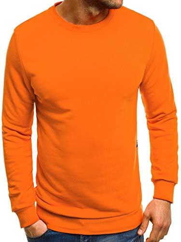 OZONEE Herren Sweatshirt Pullover Langarm Farbvarianten Langarmshirt Pulli ohne Kapuze Baumwolle Baumwollemischung Classic Basic Rundhals-Ausschnitt Sport OZONEE 171715 S ORANGE