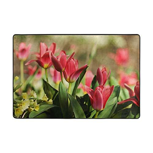 MONTOJ, schöne rosa Tulip Weathertech Fußmatten für Wohnzimmer, Schlafzimmer, Heimdekoration, Teppich, Polyester, 1, 36 x 24 inch -