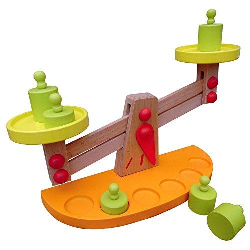 TikTakToo Balancewaage Waage aus Holz mit Gewichten für Kaufladen Kaufmannsladen Holzwaage