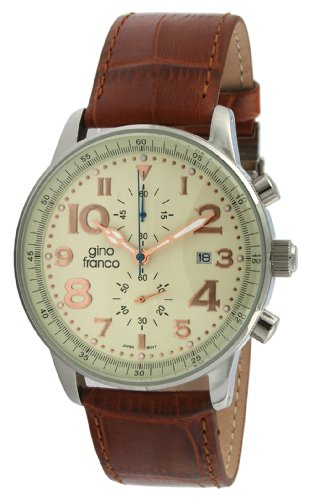 gino franco Men's 911BR Volare Round Multi-Function Stainless Steel Genuine Leather Strap Watch