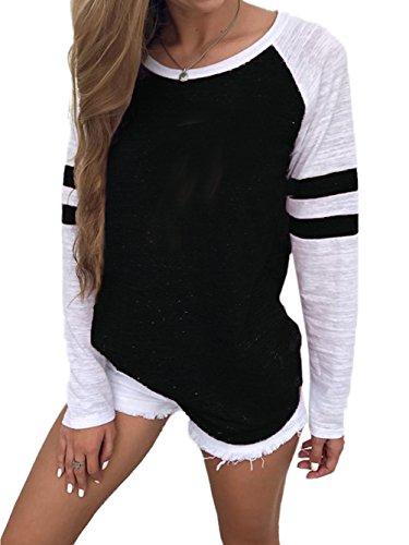 Famulily Damen Streifen Langarmshirt Tops Elegant Lose Baseball T-Shirt Sweatshirt Bluse (XL,Black)