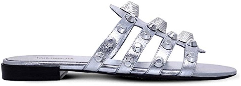 Signore Rivetti In Metallo Pantofole Fondo Piatto Sandali Da Da Da Spiaggia Di Grandi Dimensioni Sandali, 2,41 | Alta qualità ed economia  | Gentiluomo/Signora Scarpa  0437f4