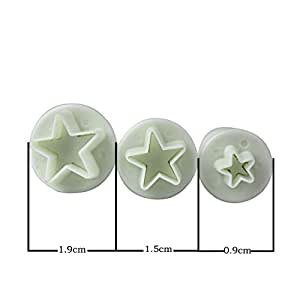 Set of 3 Sugarcraft Star Plunger Cutters