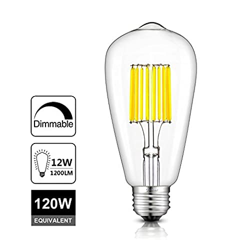 Vintage Edison LED Bulb ST64 Dimmable E27, Ultra Bright 12W=120W Equivalent Super High Brightness, Antique Lights Great for Bar Home Festival Hotel, 2700K Warm