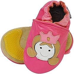 PantOUF Zapatillas Pantuflas de Cuero-Niño/Niña- Suela Antideslizante en Gamuza y Caucho - princesa