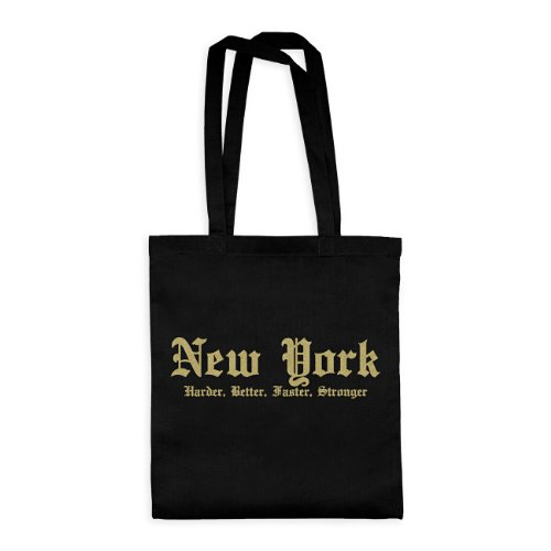 Souvenirs York New (dress-puntos Baumwolltasche New York Harder, Better, Faster, Stronger 20drpt15-bwt00324-4 Textil black / Motiv glittergold - 42 x 38 cm)