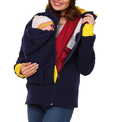 Teamoluna Womens Maternity Kangaroo Fleece Hoodie Duo Top Carrier Baby Holder Jacket (US,L/Asia,XL) Dark Blue