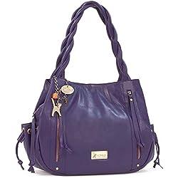 Grand sac à main en cuir Caz signé Catwalk Collection - Violet