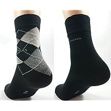 6 Paar Socken - 3 Uni schwarz, 3 kariert