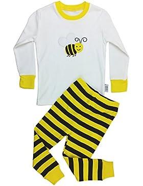 Floorey Mädchen Schlafanzug Hummel 2 Stück Schlafanzüge Set 100% Baumwolle