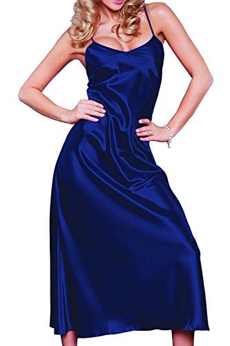 DKaren-Nachtwäsche Damen Negligee aus Satin H43 (XS-XXL) (L, MARINE) (Robe Baumwolle Satin Blau)