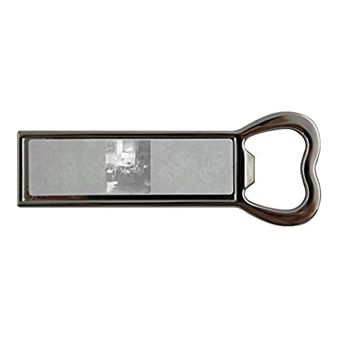 Stainless steel bottle opener and fridge magnet with Louis Bromfield sitting on sofa with dog.