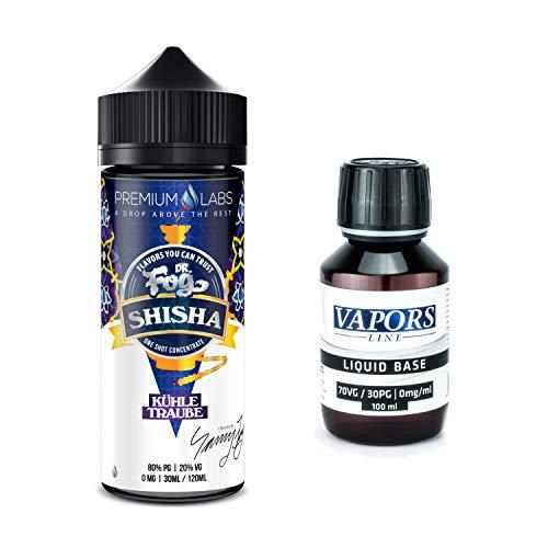 (30 ml Dr. Fog Aroma von Premium Labs + 100 ml Base (VG/PG 70/30) im Bundle zur Verwendung in E-Zigaretten (nikotinfrei) (Shisha - Kühle Traube))