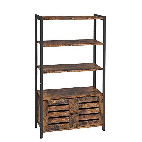 VASAGLE Bücherschrank, Bücherregal im Industrie-Design mit 3 Ablagen, 2 Lamellentüren, Wohnzimmer, Arbeitszimmer, Schlafzimmer, 70 x 30 x 121,5 cm, multifunktional, Vintage LSC75BX - Schwarz 3 Regal Bücherregal