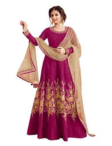 Sancom Brand New Designer Pink Colour Bhagalpuri With Heavy Embroidery Anarkali Suit  available at amazon for Rs.1219