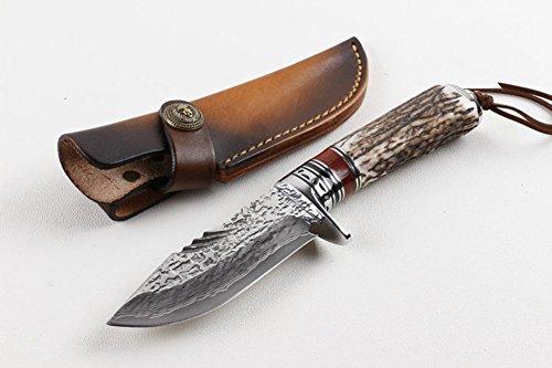 CHENPK05135 cornamenta Hecho a mano Cuchillo recto de acero damasco