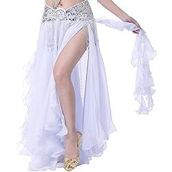YuanDian Femme Couleur Unie Danse du Ventre Double Haute Fente Longue Jupe Professionnelle Moderne Danse Costume Mousseline De Soie Jupe Blanc (Non Compris la Ceinture)