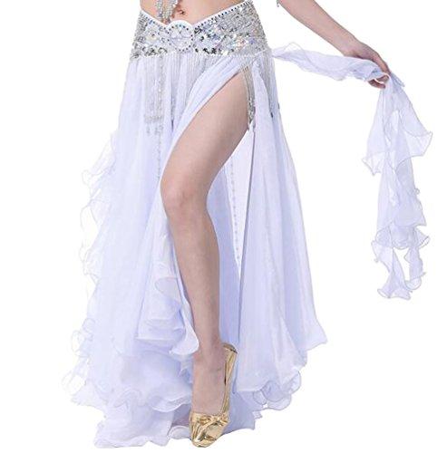 YuanDian Damen Chiffon Einfarbig Professionelle Tänzerin Bauchtanz Spliss Öffnungs Swing Long Rock Tanzkostüm Bauch Dance Kleid Weiß (Nicht inbegriffen ist (Dance Kleid Weißes Kostüme)