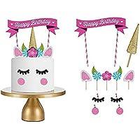Love77 2184 - Decoración de cumpleaños para tarta , diseño de unicornio