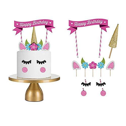 Einhorn für Geburtstagskuchen, 11 Stück, Dekoration Happy Birthday Party Kuchen Dekorationen für Kinder Baby ()