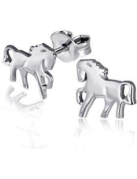 Goldmaid-Charmohrstecker Pferde 925 Sterlingsilber Ohrringe Schmuck