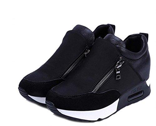 Elevator Shoes Round Toe Hidden Heel Casual Sneaker Wedge Heel Color Match...