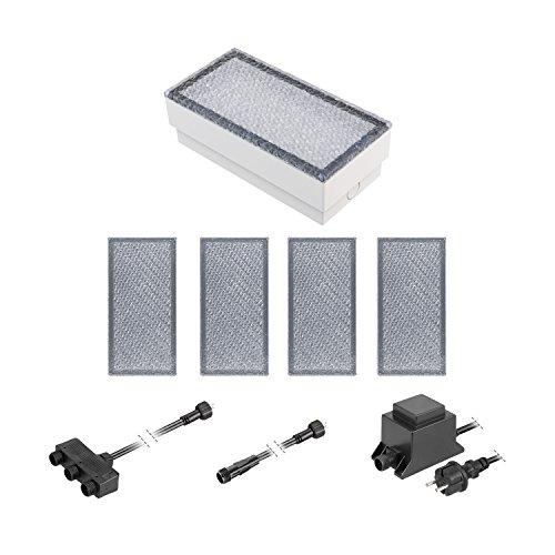 ledscom.de LED Pflaster-Stein Gorgon Boden-Einbauleuchte für außen, 20x10cm, 12V, kalt-weiß 5er Set