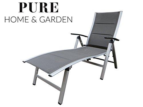 """Extra hohe Luxus Aluminium Gartenliege """"NOX Padded silber"""", gepolstert, klappbar und mehrfach verstellbar, Pure Home & Garden"""