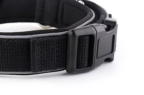 KURI PAI Feelgood Halsband, Größe M (43-50cm) schwarz. Gepolstertes Hundehalsband. Reflektierend. Gepolstert mit Neopren. Obermaterial aus Bambusfaser - 4