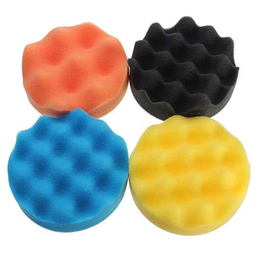 GIlH 4pcs 4 Zoll Rauen Pads Welle Schwamm-Polierauflage Kit für das Schleifen Polierer Puffer Wash-Reinigungs-Set (Fingernagel-dateien Und Puffer)