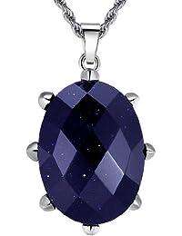 Arco Iris Jewelry - Joya hecha de acero inoxidable Colgante con cadena de 2.4mm de cuerda - detalle de tono morado - Talla