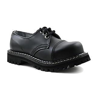 ANGRY ITCH 3-Loch Gothic Punk Army Ranger Armee schwarze Leder Schuhe mit Stahlkappe 36-48 - Made in EU!, EU-Größe:EU-46