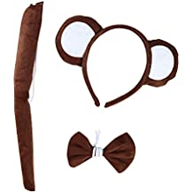 LUOEM Animal Cosplay Headband Tail Bow Costume Set Monkey Ears Diademas Hair Band para Cosplay Fiesta