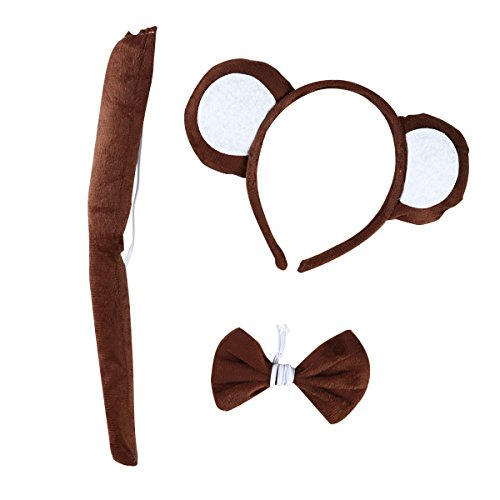 Affe Ohren Und Kostüm Schwanz - LUOEM Tier Cosplay Stirnband Schwanz Bogen Kostüm Set Monkey Ohren Stirnbänder Haarband für Cosplay Halloween Kostüm Party, 3 Pack