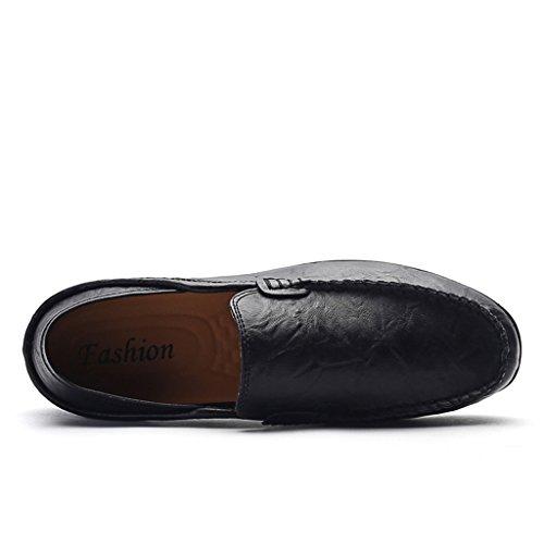 SITAILE Suède Cuir Plats Slip-on Mocassins Loafers Loisirs Chaussures de Homme Noir