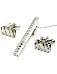 HYHAN Camisas de plata juego de pinzas de la tela cruzada del lazo y la mancuerna Set - Encantos Accesorios para hombres + caja de regalo, silver